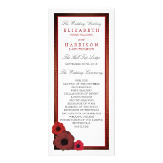 Rote Mohnblumen und Leinwand-Hochzeits-Programm Werbekarte