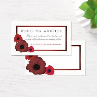Rote Mohnblumen und Leinwand-Hochzeits-Website Visitenkarte