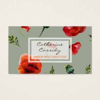 Rote Mohnblumen, weibliches Blumen, Maskenbildner Visitenkarte