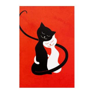 Rote niedliche umarmende Liebe-Katzen Acryl Wandkunst