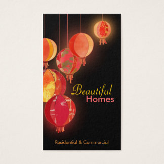 Rote Papierlaternen-Innenarchitektur-Visitenkarten Visitenkarten