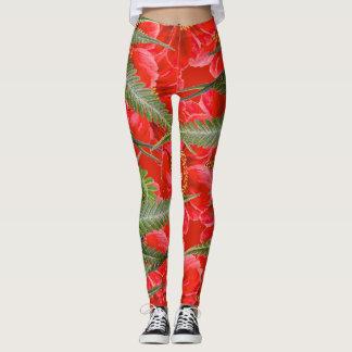 Rote Pfingstrosen-Blumen-Farne ganz über Leggings