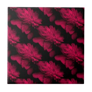 Rote Pfingstrosen-Blumenkunst-Fliese Fliese