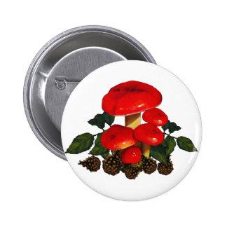 Rote Pilze, Kiefern-Kegel; Natur-Kunst Runder Button 5,7 Cm