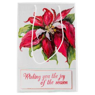 Rote Poinsettia-Geschenk-Tasche Mittlere Geschenktüte