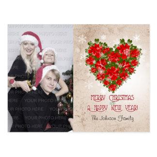 Rote Poinsettia-Krone und Schneeflocke-Weihnachten Postkarte