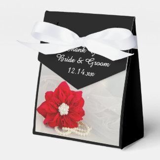 Rote Poinsettia und Weiß-Perlen-Winter-Hochzeit Geschenkkartons