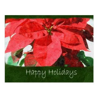 Rote Poinsettias 1 - frohe Feiertage Postkarte