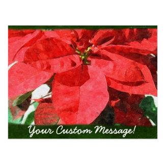 Rote Poinsettias 1 Postkarte
