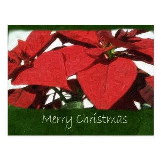 Rote Poinsettias 2 - frohe Weihnachten Postkarte