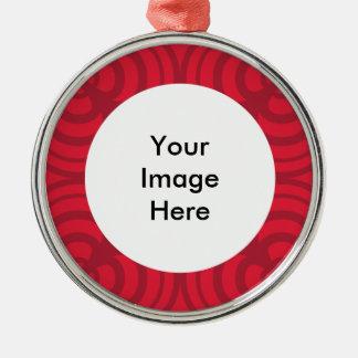 Rote Rahmen-Verzierung mit Platz für Foto Silbernes Ornament