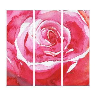 Rote rosa orange Wasserfarbe der Rose malend Galerie Faltleinwand