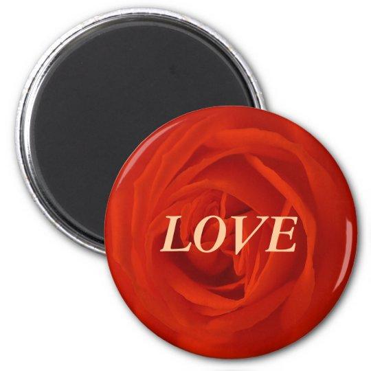 Rote Rose der Liebe Runder Magnet 5,7 Cm