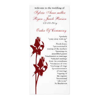 Rote Rose Hochzeitsprogramm Individuelle Werbe Karte