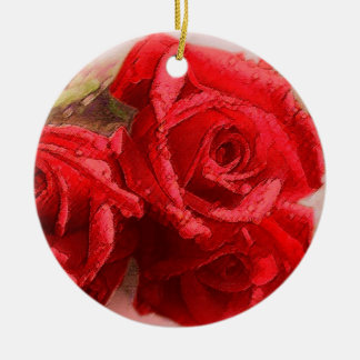 Rote Rose - Verzierung Keramik Ornament
