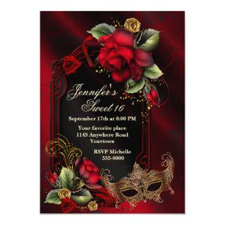 Rote Rosen und Maskerade-Maske 16. Geburtstag 12,7 X 17,8 Cm Einladungskarte