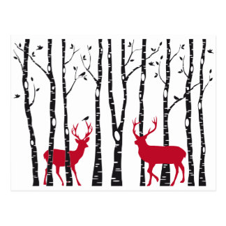 Rote Rotwild im Birkenbaumwald Postkarte