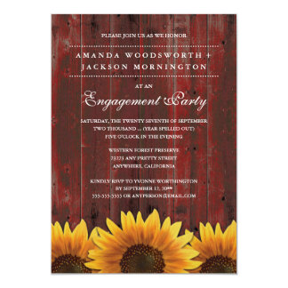 Rote rustikale Sonnenblume-Verlobungs-Party 12,7 X 17,8 Cm Einladungskarte