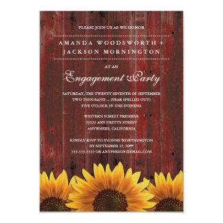 Rote rustikale Sonnenblume-Verlobungs-Party Karte