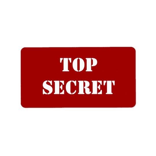 Rote Schablone streng geheim Adressaufkleber