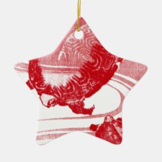 Rote Schildkröten in wirbelndem Wasser Keramik Ornament