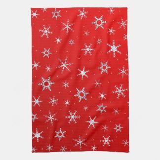 Rote Schneeflocken Handtuch