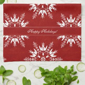 Rote Schneeflocken Küchentuch
