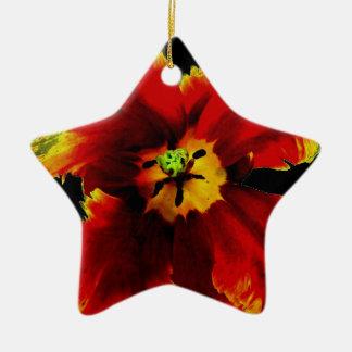 Rote schwarze Blume Keramik Ornament