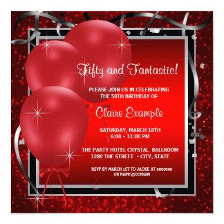 Rote schwarze der Geburtstags-Party Einladungen