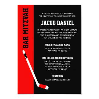 Rote schwarze Hockey-Bar Mitzvah Einladungen