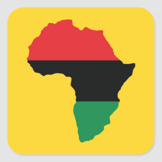 Rote, schwarze u. grüne Afrika-Flagge Quadratsticker