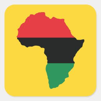 Rote, schwarze u. grüne Afrika-Flagge Quadratischer Aufkleber