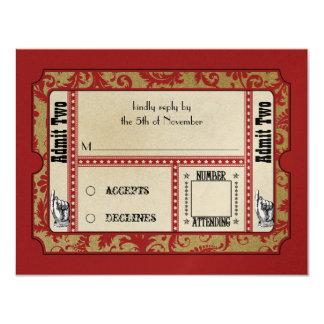 Rote Showbill Hochzeits-Wartekarten 10,8 X 14 Cm Einladungskarte