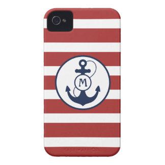 Rote Streifen mit Seeanker und Monogramm iPhone 4 Hüllen