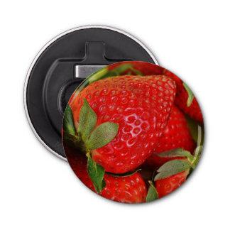 Rote süße Erdbeeren Runder Flaschenöffner
