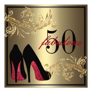 Rote Tanzen-Schuhe - fabelhafter 50. Geburtstag Quadratische 13,3 Cm Einladungskarte