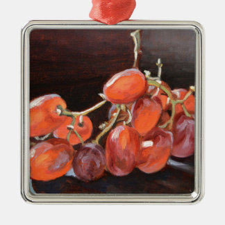 Rote Trauben Nr. 2- Quadratisches Silberfarbenes Ornament