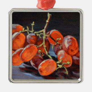 Rote Trauben Quadratisches Silberfarbenes Ornament