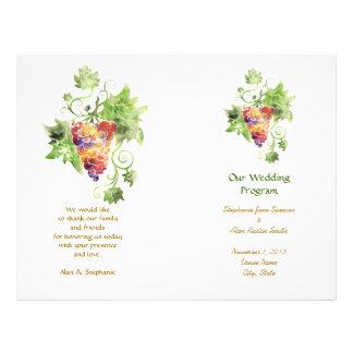 Rote Traubenwatercolor-Hochzeits-Programm-Flyer 21,6 X 27,9 Cm Flyer