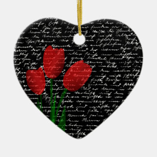 Rote Tulpen Keramik Herz-Ornament