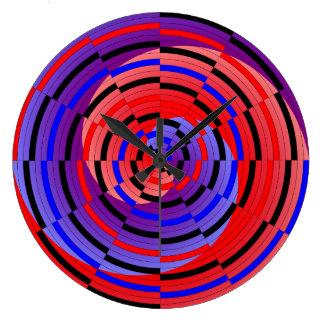Rote u. blaue Zähler-Spirale durch Kenneth Yoncich Große Wanduhr