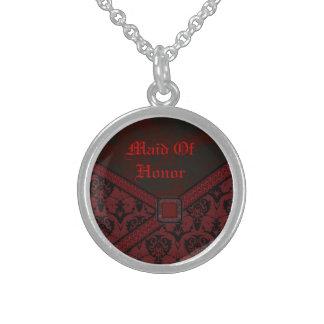 Rote u. schwarze Goth Spitze-Hochzeit Sterling Silberkette