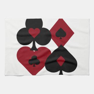 Rote u. schwarze Poker-Kartensatz-Anzüge Geschirrtuch