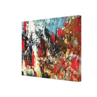Rote und blaue abstrakte Natur-Malerei Gespannte Galeriedrucke