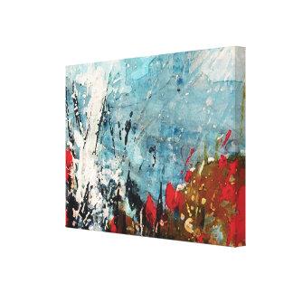 Rote und blaue abstrakte Natur-Malerei Leinwand Druck