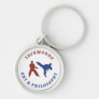 Rote und blaue Briefmarke Taekwondos Schlüsselanhänger