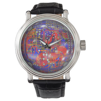 Rote und blaue Leiterplatte-Uhr Armbanduhr