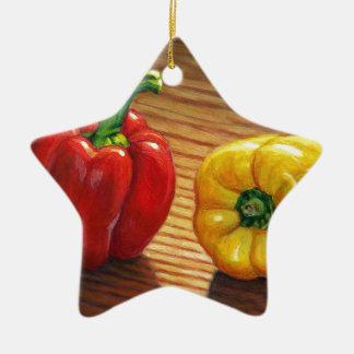 Rote und gelbe Paprikaschoten Keramik Stern-Ornament