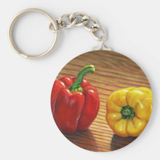 Rote und gelbe Paprikaschoten Schlüsselanhänger