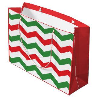 Rote und grüne Zickzack Feiertags-Geschenk-Tasche Große Geschenktüte